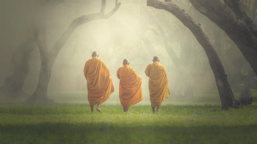 Monges caminhando na floresta - Tzido/Getty Images/iStockphoto