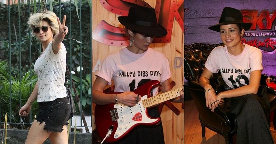 26.set.2015 - Com cabelos loiros e curtos, Nanda Costa usa chapéu para curtir o sexto dia de shows do Rock in Rio.