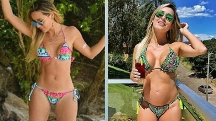 Aos oitos meses de gravidez, ex-BBB Leticia Santiago mostra antes e depois para provar que barriga cresceu - Reprodução/Instagram/le_santiago