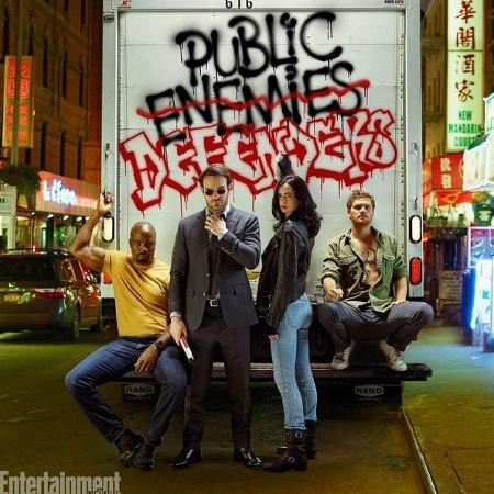 """Luke Cage, Demolidor, Jessica Jones e Punho de Ferros, """"Os Defensores"""", aparecem juntos em foto para a revista """"Entertainment Weekly""""  - Reprodução/EntertainmentWeekly"""