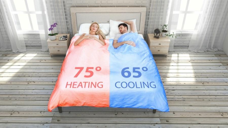 Lado quentinho pode chegar a 23 ºC e o mais fresco, a 18ºC (a ilustração está em graus fahrenheit) - Divulgação