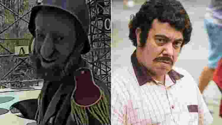 """Márcio Vito como canhoneiro de Faustão, em 1993, e imitando Pablo Escobar no """"Tá no Ar"""" - Montagem/Reprodução/João Miguel Júnior/TV Globo - Montagem/Reprodução/João Miguel Júnior/TV Globo"""