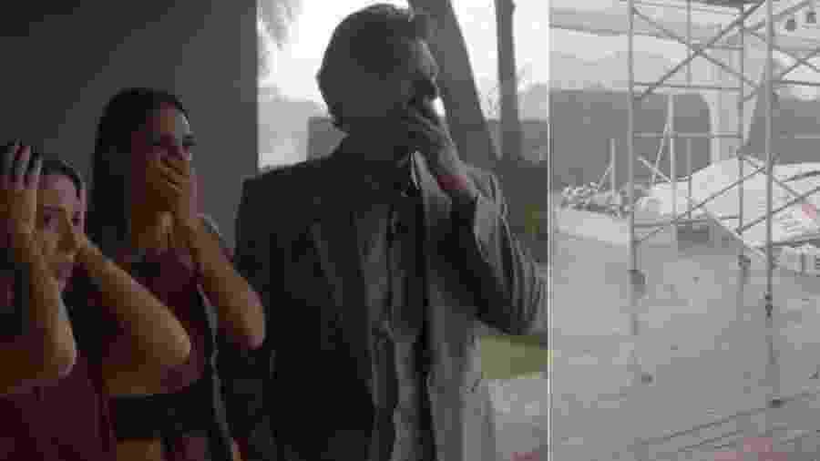 """Elisa Tavares, Chris Flores e Carlos Bertolazzi se desesperam ao ver estrutura desabar em """"Fábrica de Casamentos"""" - Montagem/UOL/Divulgação/SBT"""
