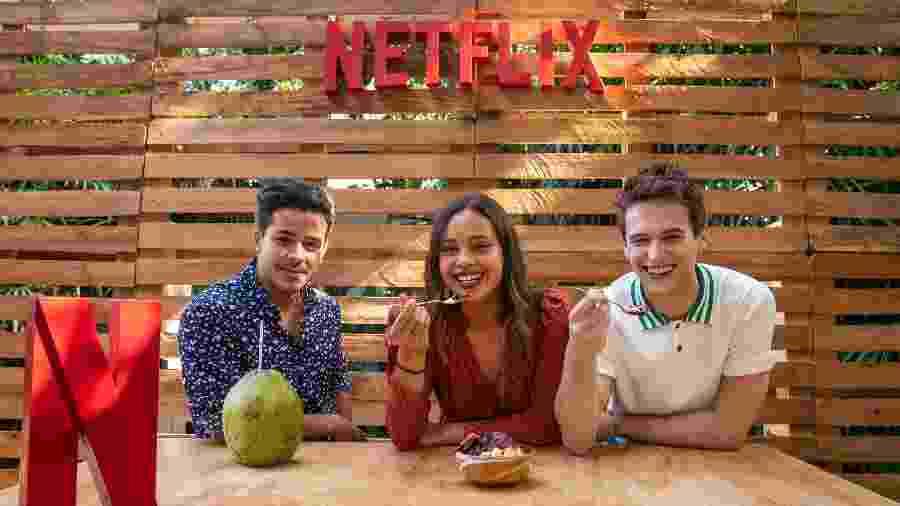 """Christian Navarro, Alisha Boe e Brandon Flynn promovem a segunda temporada de """"13 Reasons Why"""" em São Paulo - Mauricio Santana/Netflix/Divulgação"""