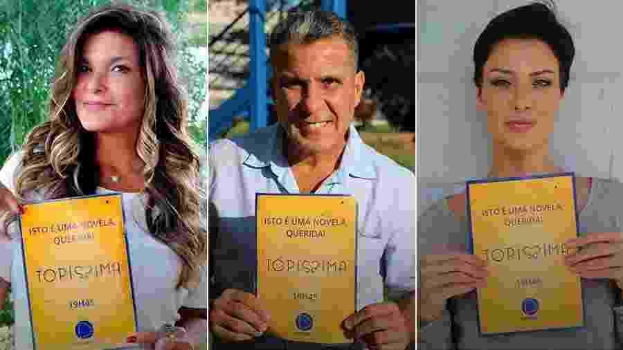 """Cristiana Oliveira, Eri Johnson e Camila Rodrigues usam meme para divulgar """"Topíssima"""" - Montagem/UOL/Reprodução/Instagram"""