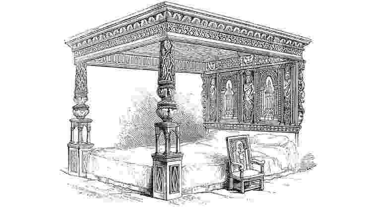 Na Europa medieval, os ricos tinham 'grandes camas' como essa, conhecida como a Grande Cama de Ware - Getty Images - Getty Images