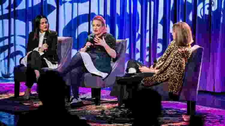 Da esq. para dir., Naomi Parry, Catriona Gourlay (meio) e a jornalista entrevistadora Eve Barlow - Fernanda Ezabella - Fernanda Ezabella