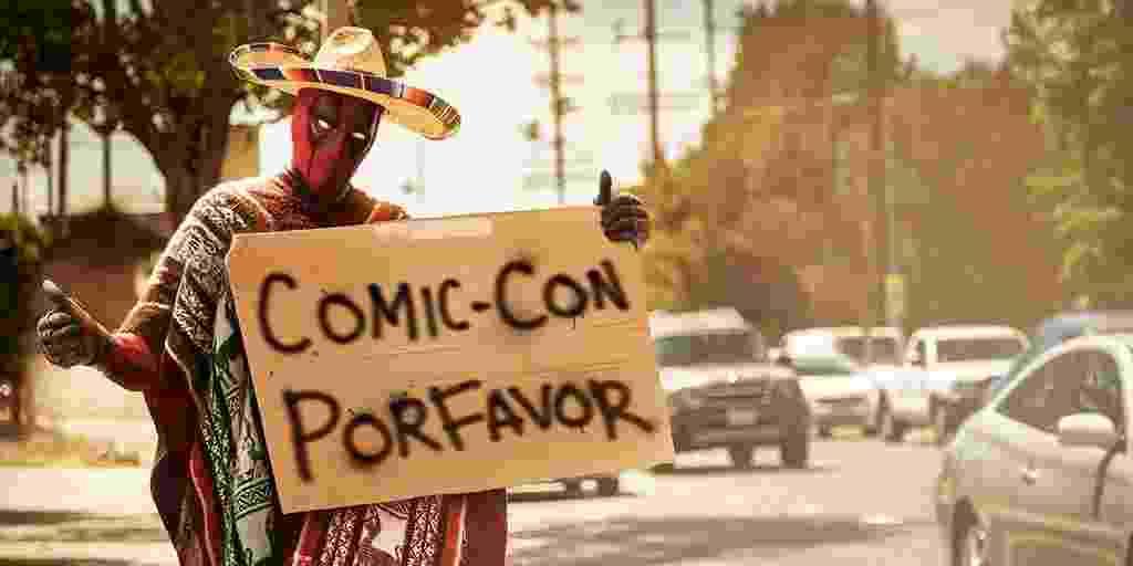 8.jul.2015 - O ator Ryan Reynolds, que interpreta o herói Deadpool no filme que estreia em 2016, divulgou em seu Twitter uma imagem do personagem tentando conseguir uma carona para a Comic-Con, que acontece na cidade de San Diego desta quarta até domingo - Reprodução/Twitter/VancityReynolds