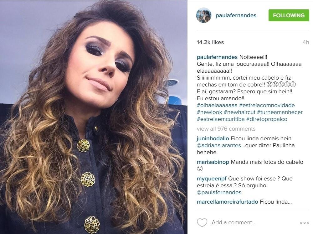 4.mar.2016 - Parece que Ana Paula tem uma fã de peso. Na noite desta sexta-feira, Paula Fernandes usou o bordão da sister do