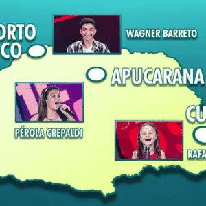 """25.mar.2016 - Às vésperas da grande final do reality show """"The Voice Kids"""", que será realizado no próximo domingo, na Globo, os três concorrentes mirins se tornaram celebridades instântaneas em suas respectivas cidades, ambas localizadas no Estad do Paraná - Reprodução/RPC/TV Globo"""