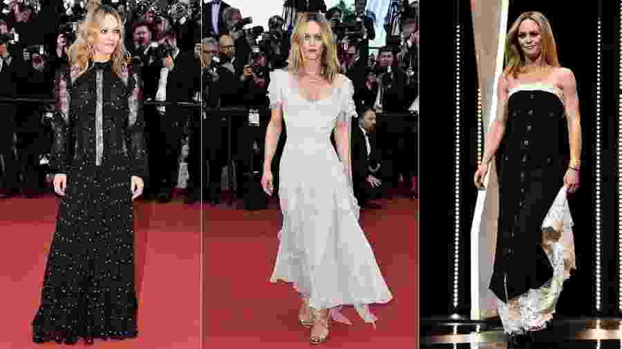 Vanessa Paradis em três momentos: com vestido vitoriano de Elie Saab, longo off-white e modelo da Chanel - Getty Images