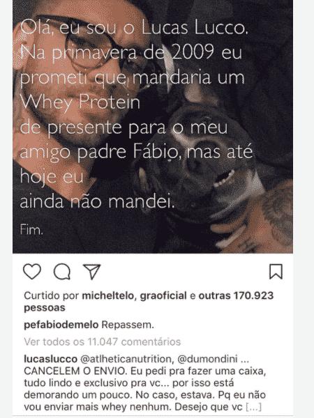 Lucas Lucco responde Padre Fábio de Melo - Reprodução/Instagram/lucaslucco - Reprodução/Instagram/lucaslucco