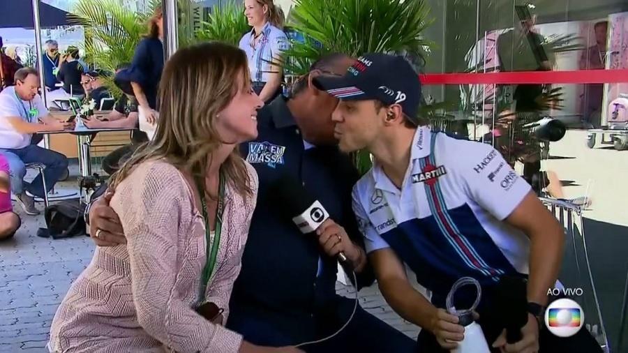 """Galvão Bueno """"invade"""" beijo de Felipe Massa na mulher, Anna Raffaela Bassi - Reprodução/TV Globo"""
