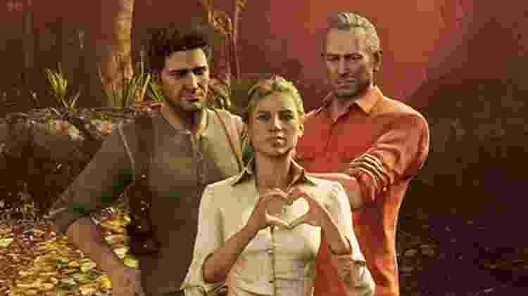 Uncharted 3 - Drake, Elena e Sully - Reprodução - Reprodução