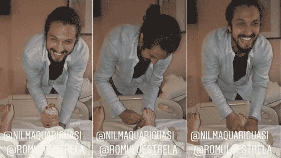 Rômulo Estrela visitou Mariana Bridi após o nascimento de Valentim - Reprodução/Instagram