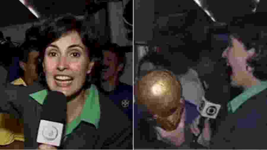 Fátima Bernardes relembra quando ergueu a taça do Brasil na Copa do Mundo de 2002 - Reprodução/Globo