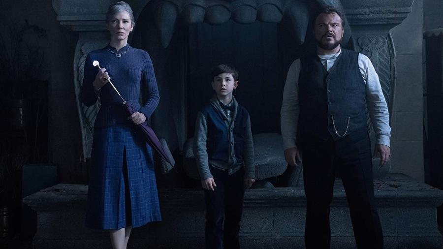 """Cate Blanchett, Owen Vaccaro e Jack Black no filme  """"O Mistério do Relógio na Parede"""" - Divulgação"""