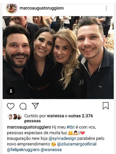 Marco Ruggiero (à esquerda) em foto com Wanessa, Zilu e amigo - Reprodução/Instagram