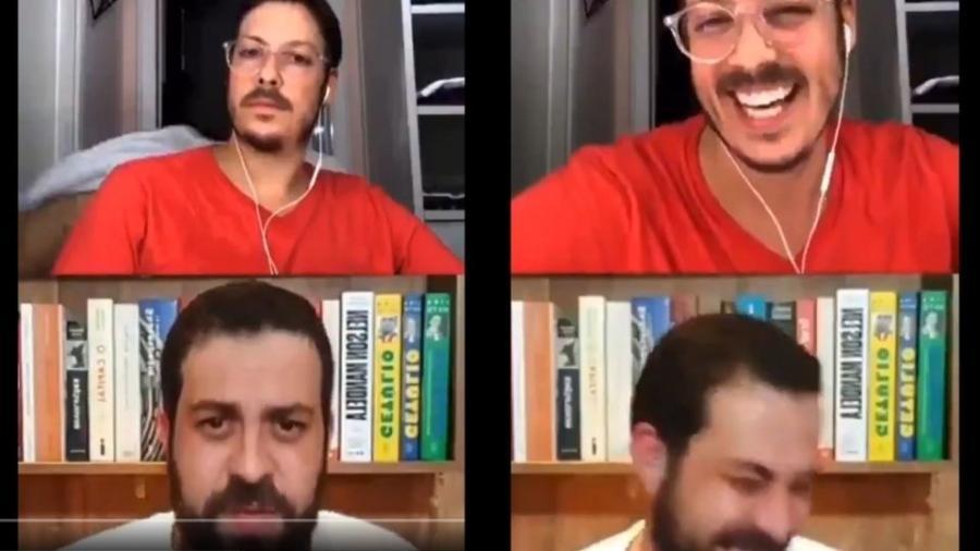 Fábio Porchat fazia uma live com Guilherme Boulos quando a mulher apareceu de toalha - Reprodução / Instagram