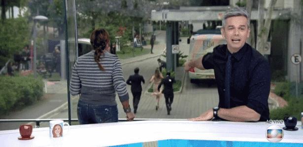 Ex-BBB Ana Paula Renault é flagrada correndo atrás de ônibus no Projac - Reprodução/TV Globo
