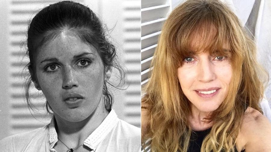"""A atriz Nadia Lippi em """"Pai Herói"""" (1979) e atualmente - Montagem/UOL"""