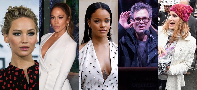 Jennifer Lawrence, Jennifer Lopez, Rihanna, Mark Ruffalo e Jessica Chastain são algumas das estrelas que protestaram contra as medidas tomadas pelo novo presidente, Donald Trump - Vianney Le Caer/Invision/AP, Mark Ralston/AFP, Patrick Kovarik/AFP, Bryan R. Smith/AFP e Theo Wargo/Getty Images/AFP