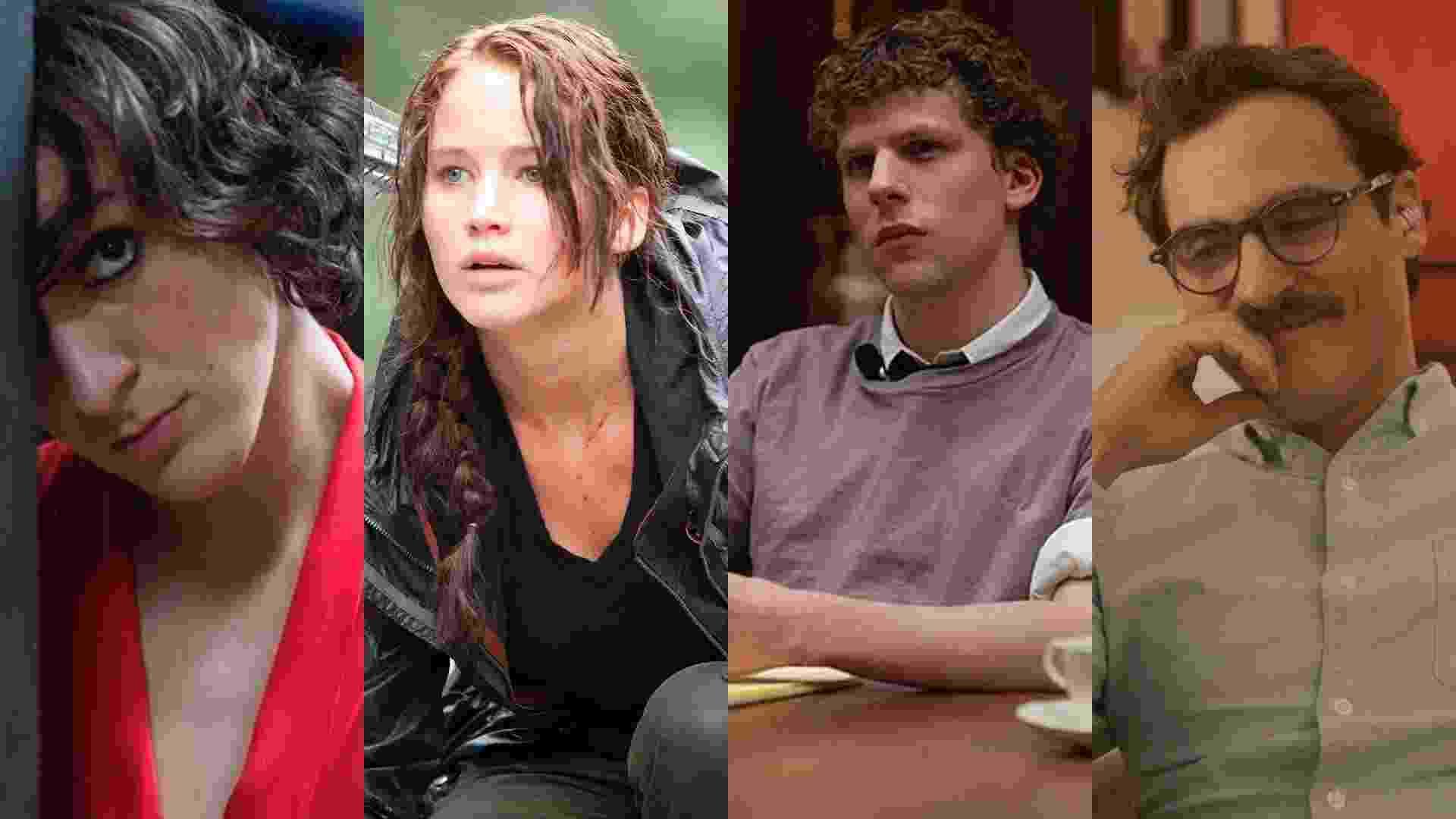 """Cenas dos filmes """"Mãe Só Há Uma"""" (2016), de Anna Muylaert, """"Jogos Vorazes"""" (2012), de Gary Ross, """"A Rede Social"""" (2010), de David Fincher e """"Ela"""" (2013), de Spike Jonze - Reprodução/Montagem"""