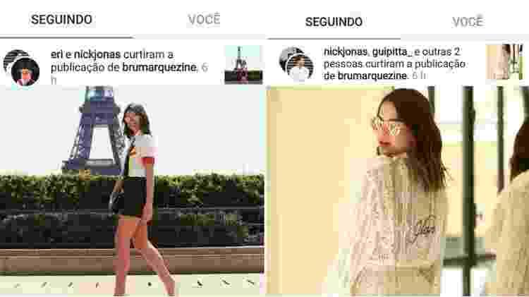 Nick Jonas curtiu fotos de Bruna Marquezine - Reprodução/Instagram - Reprodução/Instagram