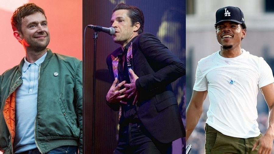 Damon Albarn, do Gorillaz, Brandon Flowers, do Killers, e Chance the Rapper - Getty/Montagem
