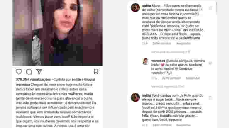 Wanessa posta desabafo e Anitta responde - Reprodução/Instagram - Reprodução/Instagram