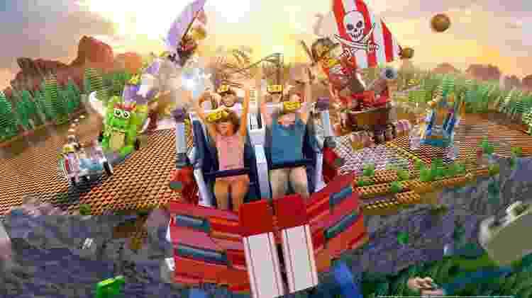 No Great Lego Race, crianças simulam um passeio de montanha-russa pelo mundo de Lego - Divulgação/Visit Orlando - Divulgação/Visit Orlando