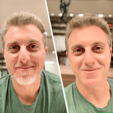 Luciano Huck antes e depois de tirar a barba - Reprodução/Instagram