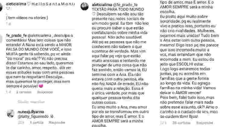 Letícia Lima faz textão para responder para seguidora sobre o fim do namoro com Ana Carolina - Reprodução/Instagram - Reprodução/Instagram
