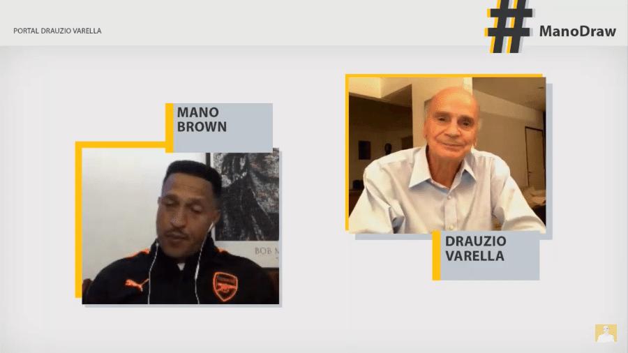 O rapper Mano Brown em live com o médico Drauzio Varella - reprodução/YouTube