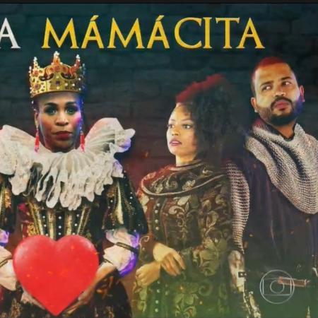 Em vídeo exibido no BBB 21, Karol Conká foi apresentada como rainha, cercada pelos súditos Nego Di, Lumena e Projota - Reprodução