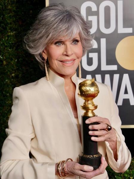 A atriz Jane Fonda foi homenageada no Globo de Ouro no último domingo - Reprodução