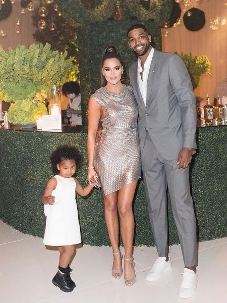 Khloe Kardashian, Tristan Thompson e a filha True - Reprodução/Instagram