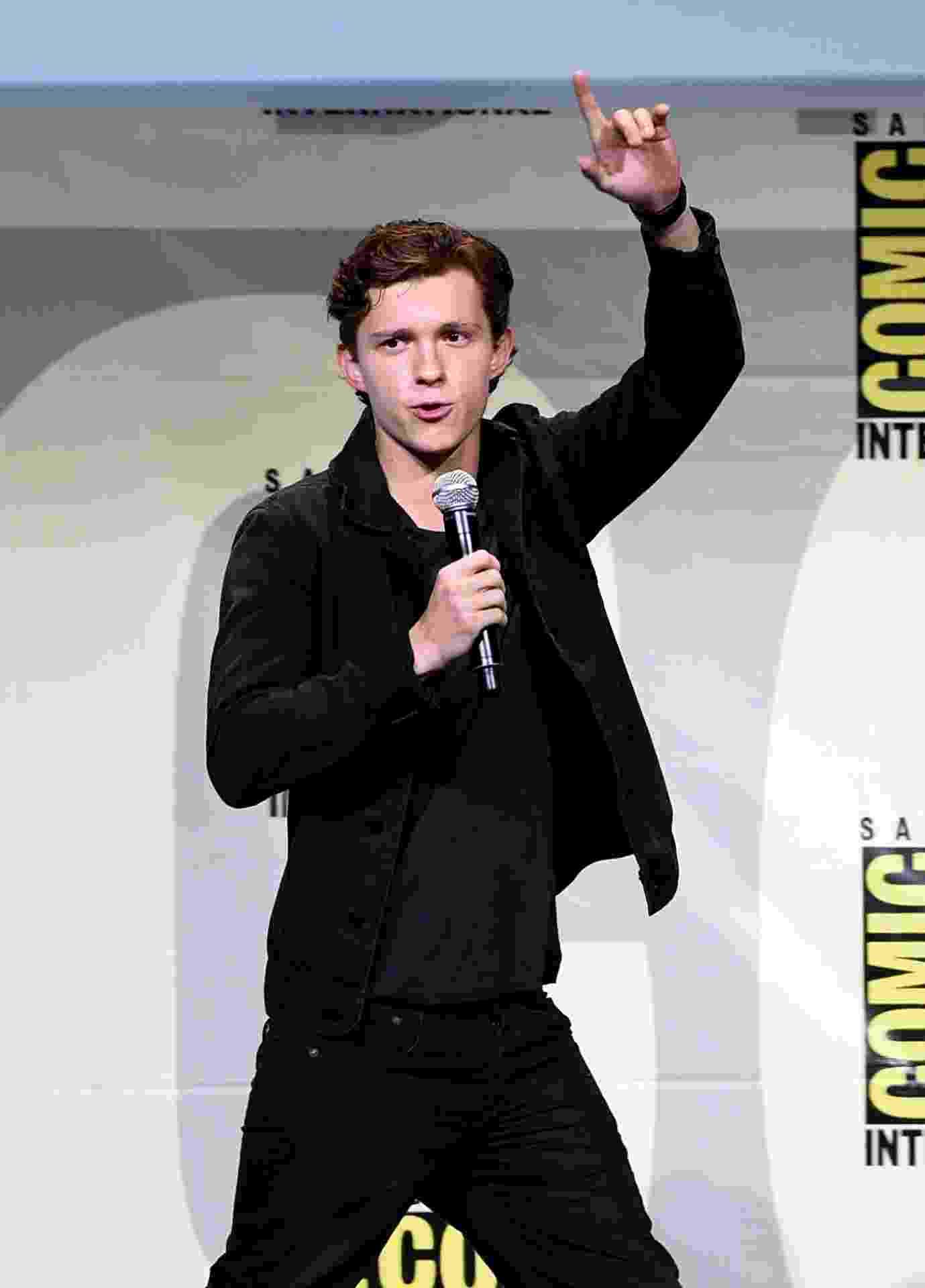 23.jul.2016 - Tom Holland, o novo Homem-Aranha, participa de painel de filme, um dos mais comemorados do terceiro dia da San Diego Comic-Con - Kevin Winter/Getty Images/AFP