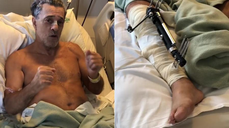 Raymundo de Souza opera a perna após acidente com moto - Montagem/UOL/Reprodução/Instagram/eri