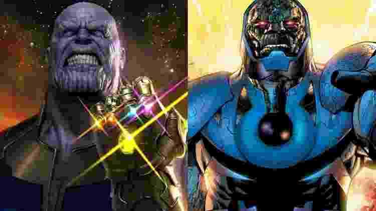 Thanos, o Titã Louco e inimigo mortal dos Vingadores, e Darkseid, Senhor de Apokolips e inimigo mortal da Liga da Justiça  - Divulgação/Reprodução - Divulgação/Reprodução