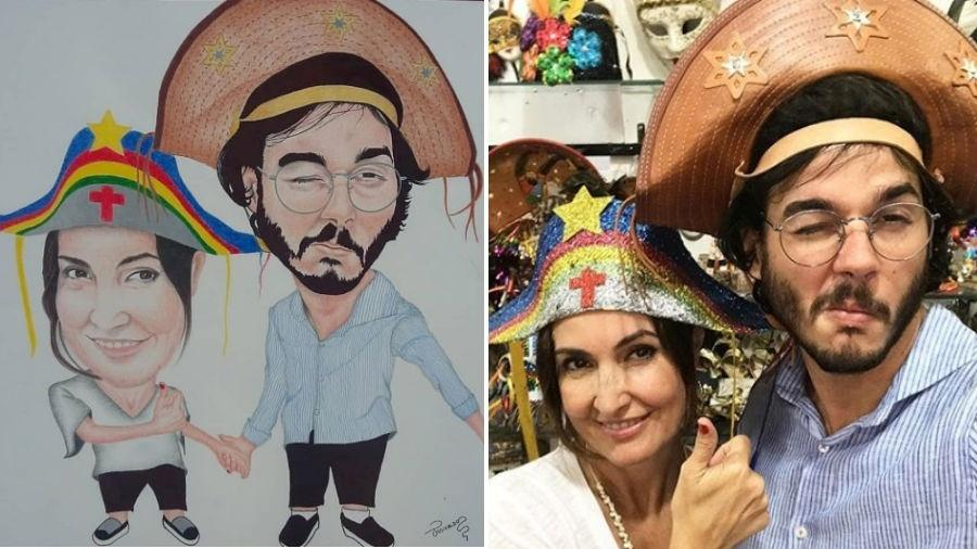 Fátima Bernardes e Túlio Gadêlha viram caricatura - Reprodução/Instagram