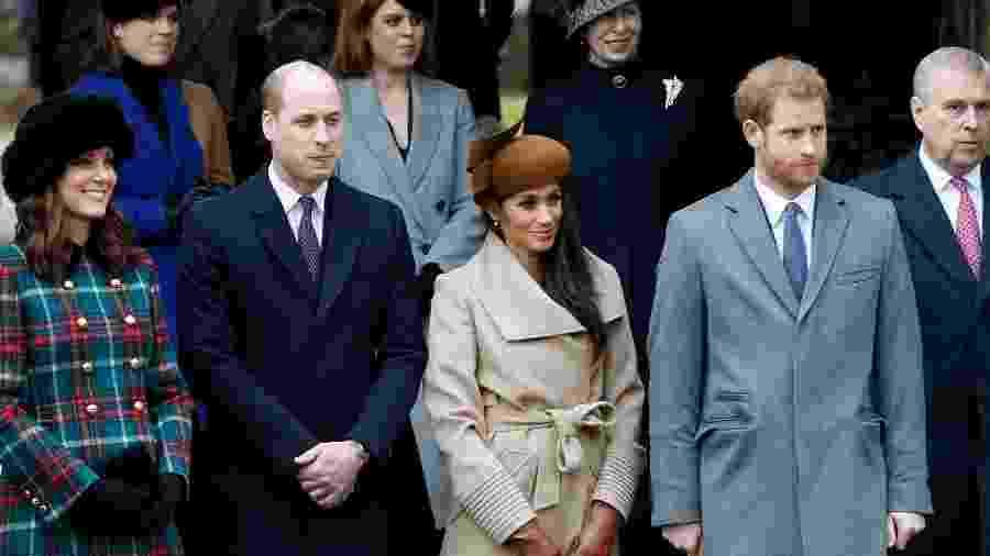 Kate, William, Meghan e Harry na saída da missa de Natal em Sandringham, em 2017 - Getty Images