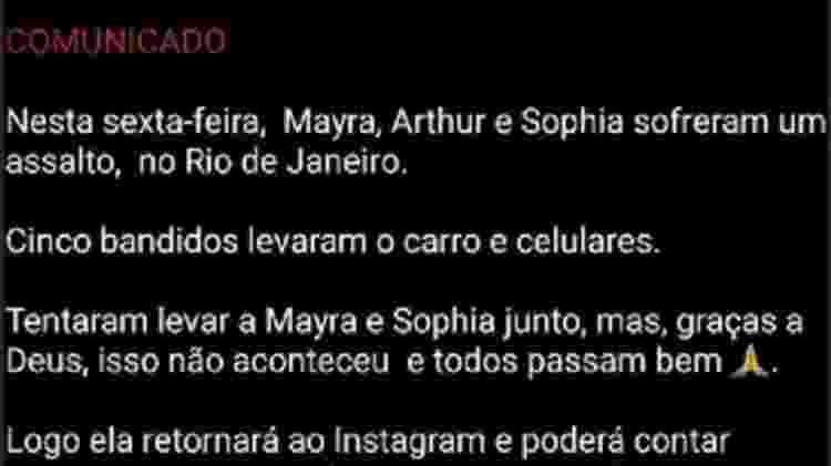Mayra Cardi e Arthur Aguiar sofrem assalto no Rio; bandidos tentam sequestrar filha - Reprodução/Instagram - Reprodução/Instagram