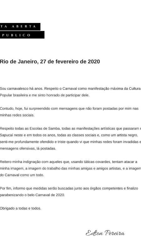 Carnavalesco da Vila escreve carta aberta com pedido de desculpas - Reprodução