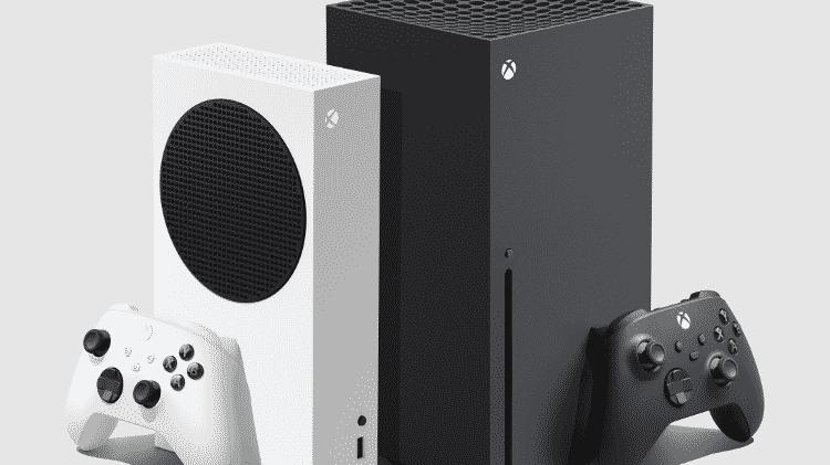 Xbox Series S (branco) Xbox Series X (preto) - Divulgação/Microsoft - Divulgação/Microsoft