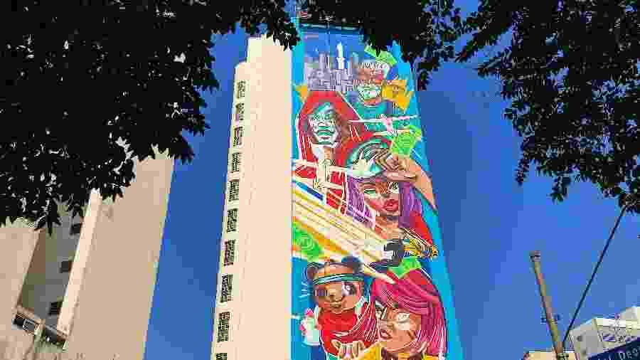 DJ Alok, La Casa de Papel e até o pet Pandinha são referências de Free Fire em prédio no centro de São Paulo - Thaime Lopes/UOL