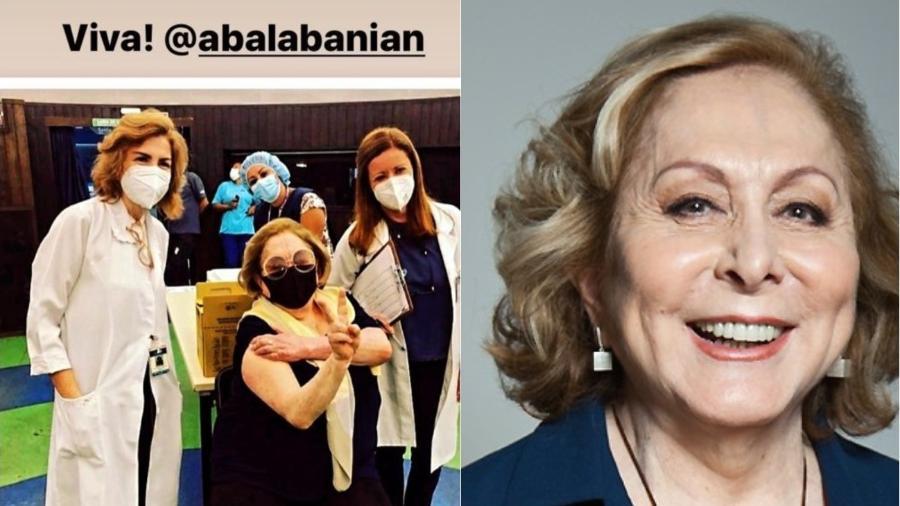 Aracy Balabanian recebe a vacina contra covid-19 - Reprodução/Instagram