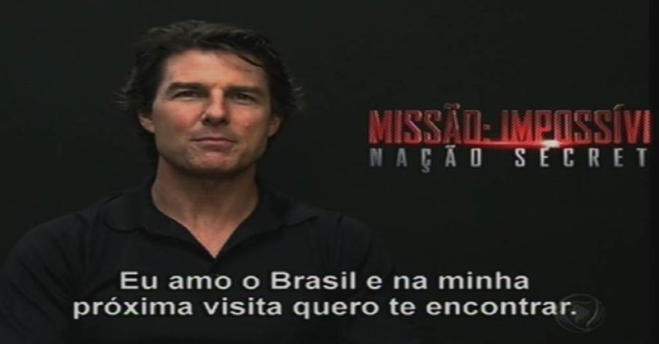 17.ago.2015 - Tom Cruise grava depoimento para Xuxa na estreia da apresentadora na Record