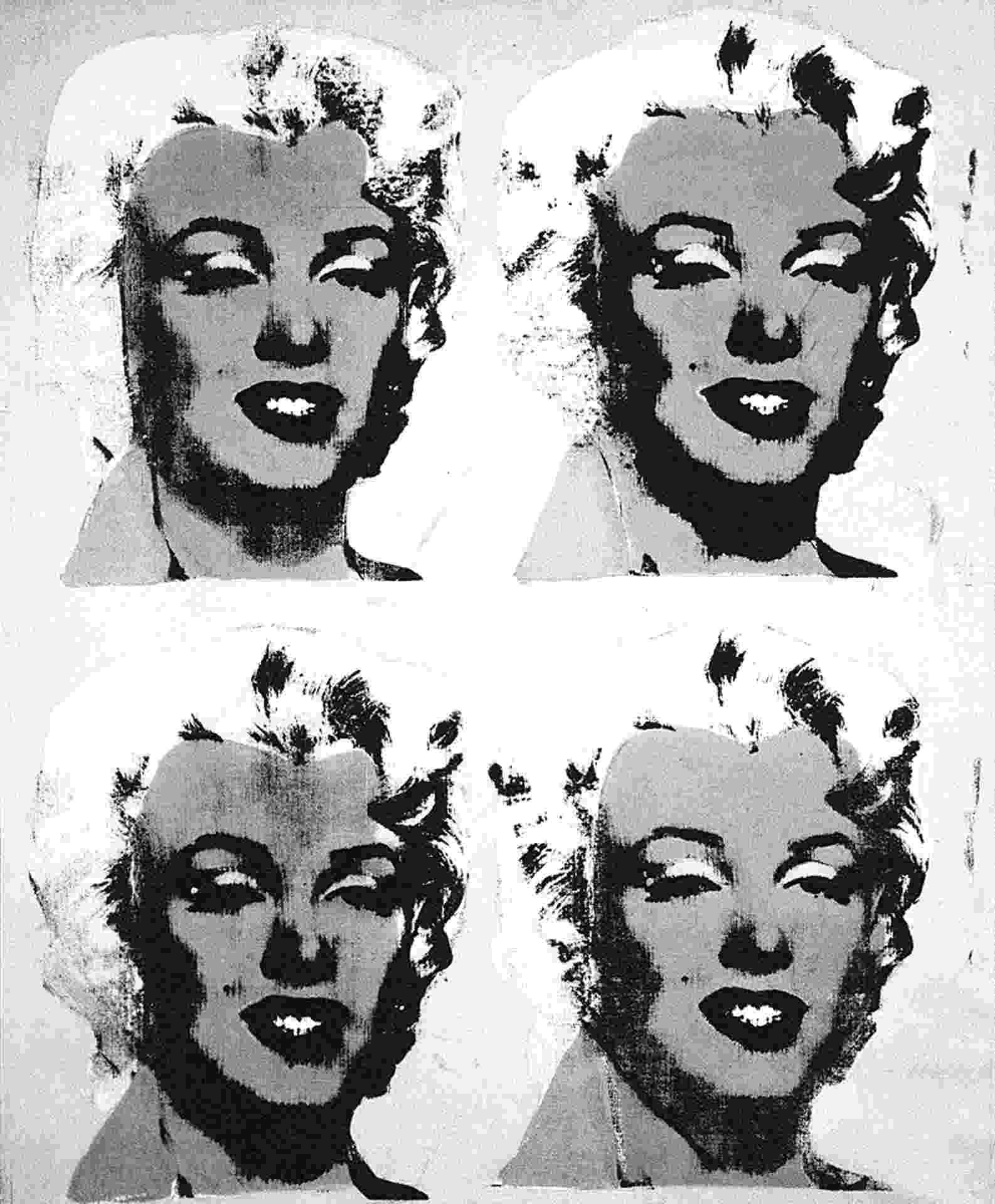 """Quadro """"Four Marilyns"""" (Quatro Marilyns), de Andy Warhol - Reprodução"""