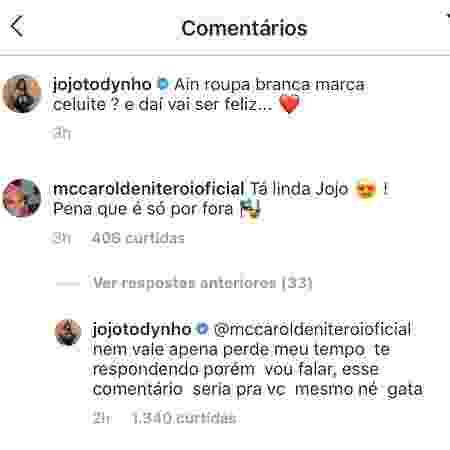 Jojo Todynho e MC Carol trocam farpas - Reprodução/Instagram - Reprodução/Instagram